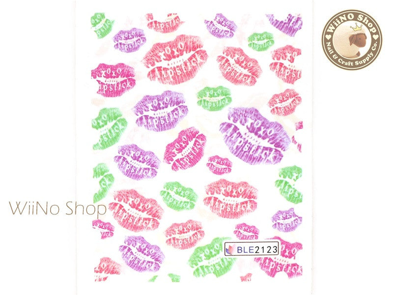 XOXO Lipstick Water Slide Nail Art Decals - 1pc (BLE2123)