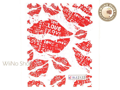 Red Lipstick Water Slide Nail Art Decals - 1pc (BLE2122)