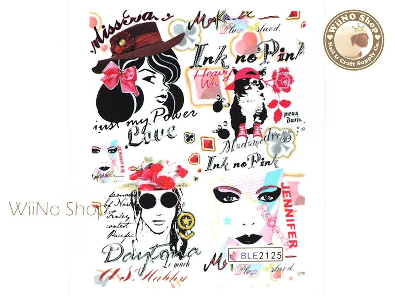 Poster Sketch Water Slide Nail Art Decals - 1pc (BLE2125) – WiiNo Shop