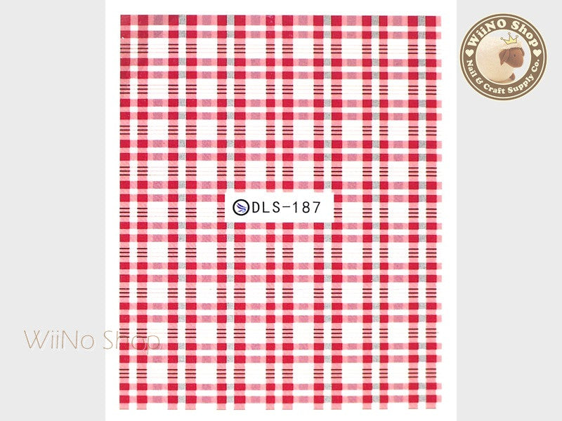 Red Plaid Pattern Water Slide Nail Art Decals - 1pc (DLS-187)