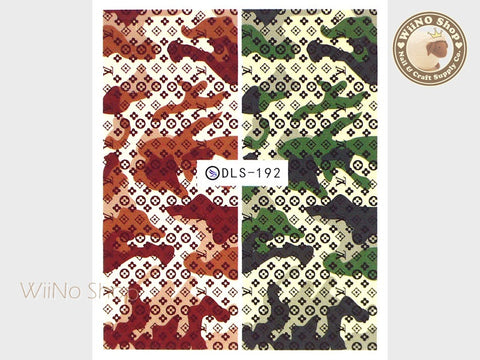 Designer Camouflage Pattern Water Slide Nail Art Decals - 1pc (DLS-192)