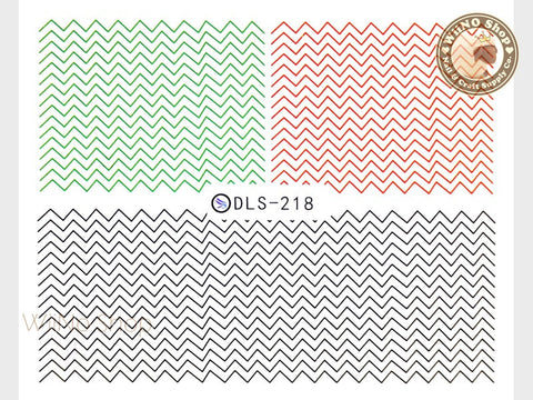 Green Red Black Chevron Pattern Water Slide Nail Art Decals - 1pc (DLS-218)