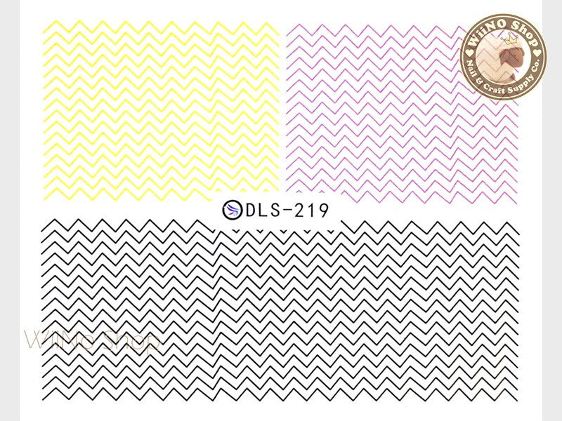 Yellow Purple Black Chevron Pattern Water Slide Nail Art Decals - 1pc (DLS-219)