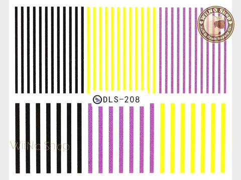 Yellow Purple Black Stripe Water Slide Nail Art Decals - 1pc (DLS-208)