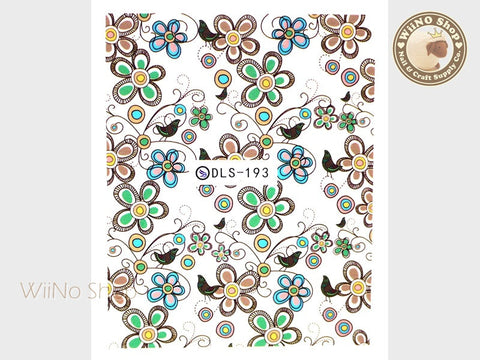 Floral Vector Pattern Water Slide Nail Art Decals - 1pc (DLS-193)