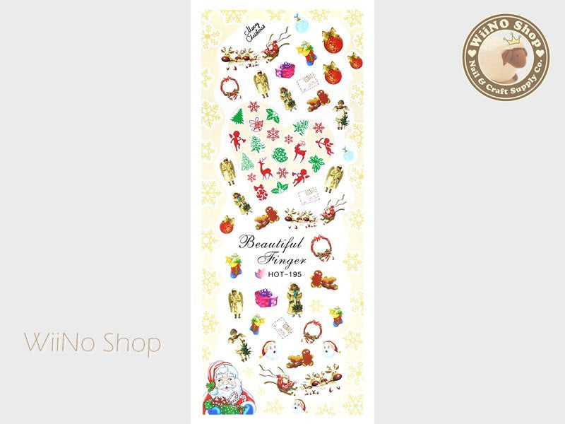 Vintage Christmas Water Slide Nail Art Decals - 1pc (HOT-195)