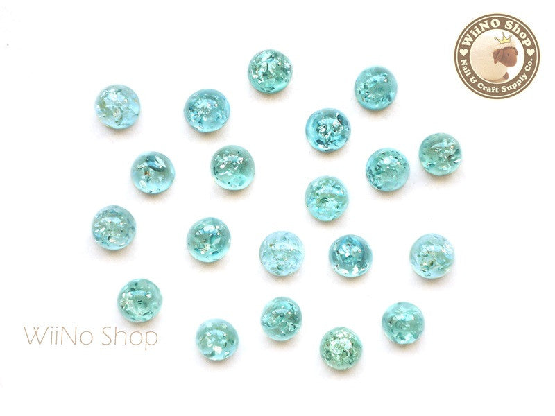 6mm Teal Green Ice Crackle Round Flat Back Acrylic Cabochon Nail Art - 10 pcs