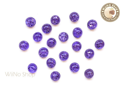 6mm Purple Ice Crackle Round Flat Back Acrylic Cabochon Nail Art - 10 pcs