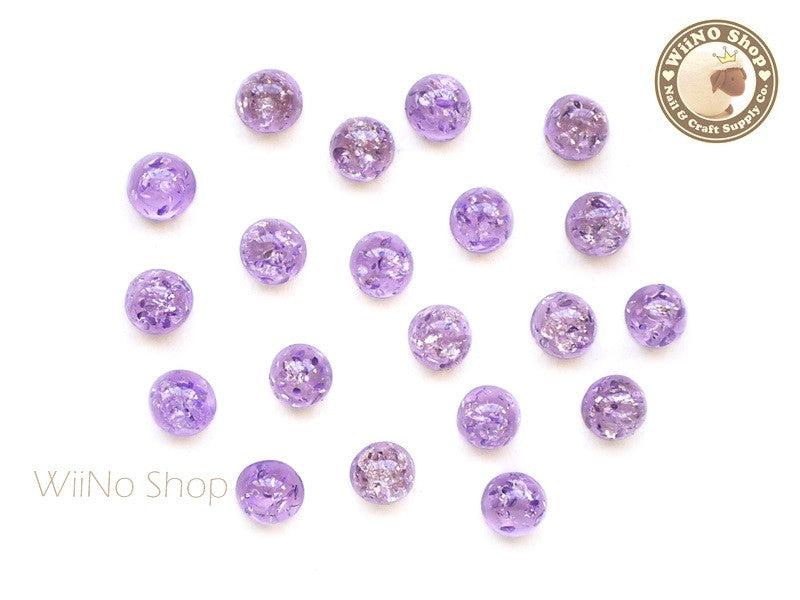 6mm Amethyst Purple Ice Crackle Round Flat Back Acrylic Cabochon Nail Art - 10 pcs