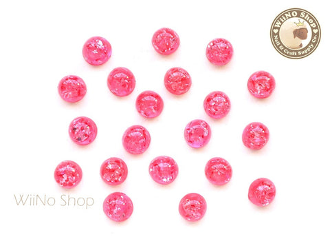 6mm Raspberry Red Ice Crackle Round Flat Back Acrylic Cabochon Nail Art - 10 pcs
