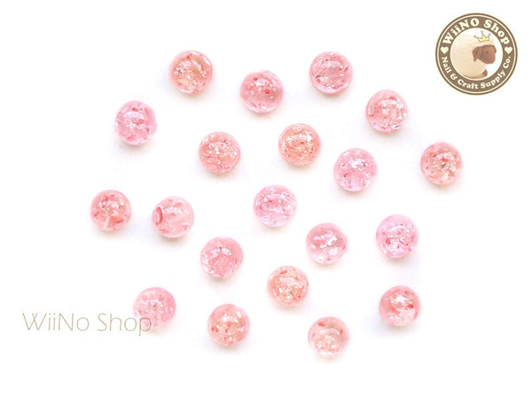 6mm Peach Pink Ice Crackle Round Flat Back Acrylic Cabochon Nail Art - 10 pcs