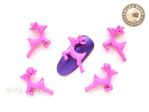Hot Pink Reindeer 3D Nail Art Metal Charm Nail Dangle - 2 pcs