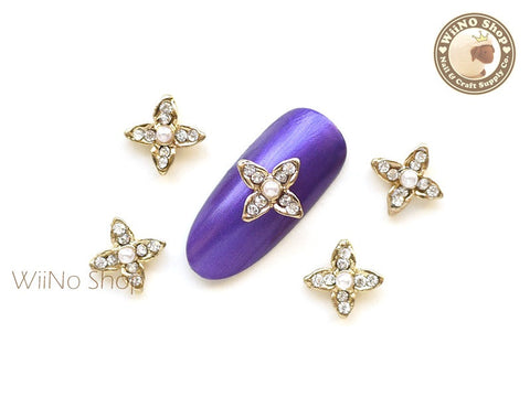 Gold Four Petal Flower Nail Metal Charm Nail Art - 2 pcs