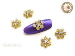 Gold Stella Crystal Snowflake Metal Charm Nail Arts Decoration - 2 pcs