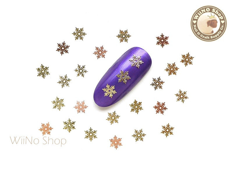 Gold Star Snowflake Ultra Thin Nail Art Metal Decoration - 25 pcs