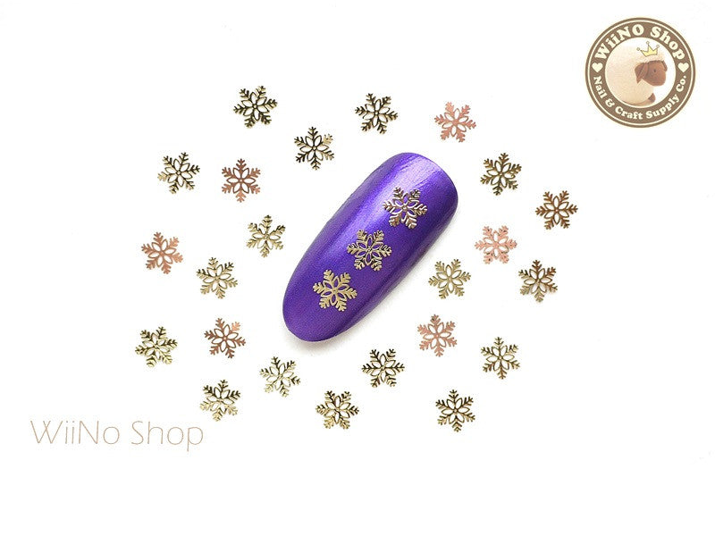 Gold Stellar Snowflake Ultra Thin Nail Art Metal Decoration - 25 pcs