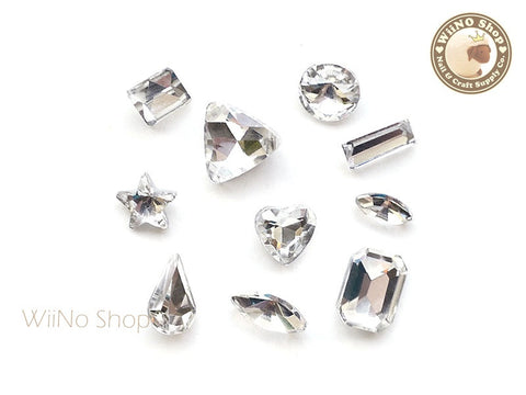 Mixed Clear Crystal Rhinestone Point Back- 10 pcs