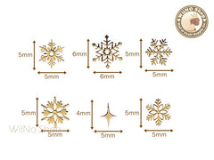 Gold Snowflake Mixed Ultra Thin Metal Decoration Nail Art - 24 pcs