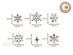 Silver Snowflake Mixed Ultra Thin Metal Decoration Nail Art - 24 pcs