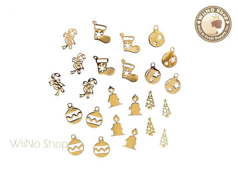 Gold Christmas Mixed Ultra Thin Metal Decoration Nail Art - 24 pcs
