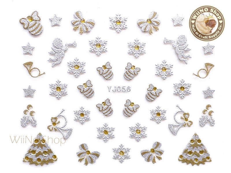 Silver Gold Ribbon Bow Ornament Snowflake Christmas Nail Art Sticker - 1 pc (YJ056)