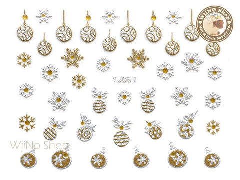 Silver Gold Christmas Ornament Snowflake Nail Art Sticker - 1 pc (YJ057)