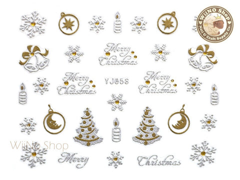 Silver Gold Snowflake Merry Christmas Nail Art Sticker - 1 pc (YJ058)