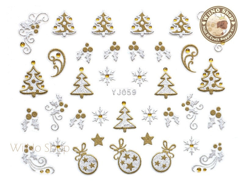 Silver Gold Christmas Tree Mistletoe Ornament Nail Art Sticker - 1 pc (YJ059)