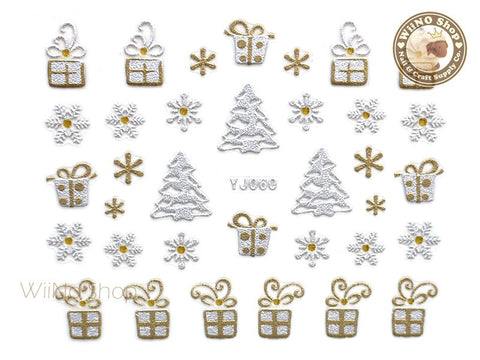 Silver Gold Christmas Gift Snowflake Nail Art Sticker - 1 pc (YJ060)
