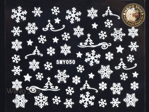 SMY050 White Snowflake Christmas Adhesive Nail Art Sticker - 1 pc