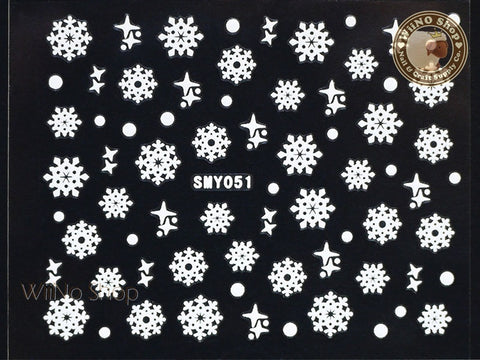 SMY051 White Snowflake Christmas Adhesive Nail Art Sticker - 1 pc