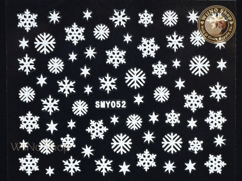 SMY052 White Snowflake Christmas Adhesive Nail Art Sticker - 1 pc