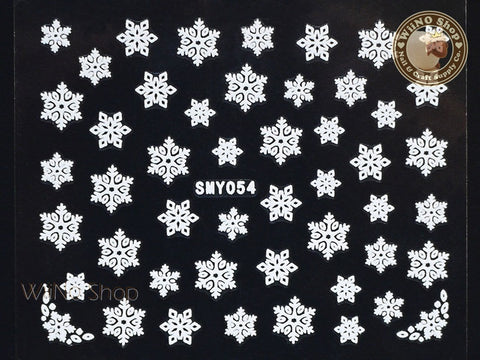 SMY054 White Snowflake Christmas Adhesive Nail Art Sticker - 1 pc