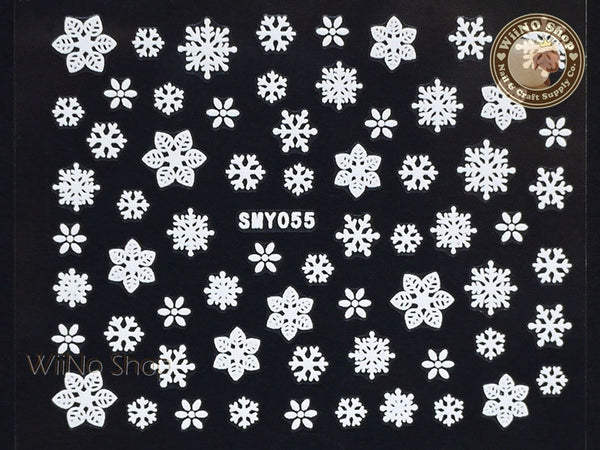 SMY055 White Snowflake Christmas Adhesive Nail Art Sticker - 1 pc