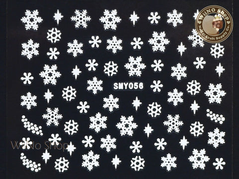 SMY056 White Snowflake Christmas Adhesive Nail Art Sticker - 1 pc