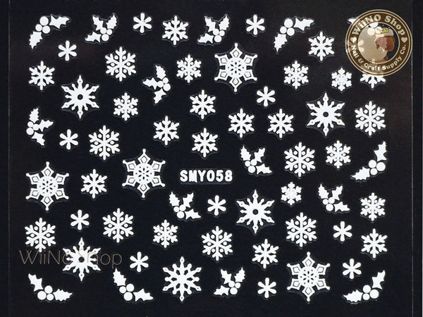SMY058 White Snowflake Christmas Adhesive Nail Art Sticker - 1 pc