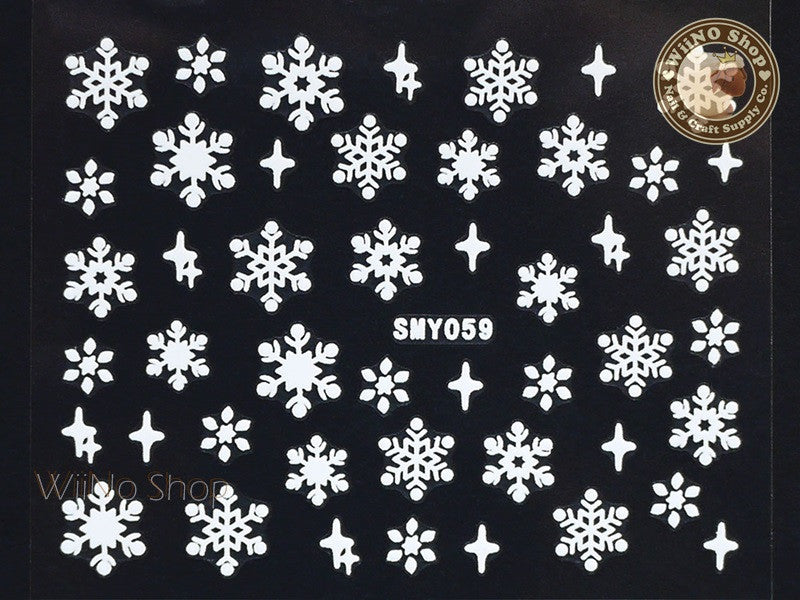 SMY059 White Snowflake Christmas Adhesive Nail Art Sticker - 1 pc