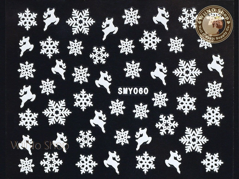 SMY060 White Snowflake Christmas Adhesive Nail Art Sticker - 1 pc