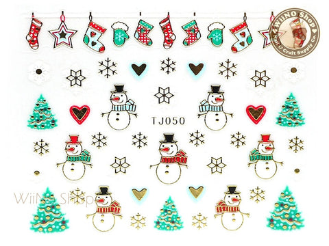 Gold Christmas Snowman Ornament Snowflake Nail Art Sticker - 1 pc (TJ050)