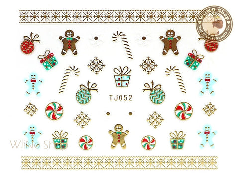 Gold Christmas Gingerbread Man Ornament Snowflake Nail Art Sticker - 1 pc (TJ052)