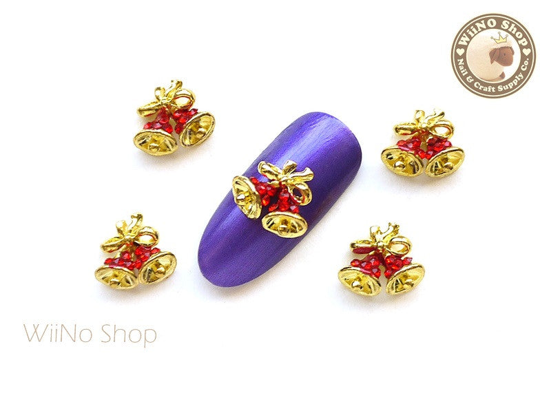 Red Jingle Bell Nail Art Metal Charm - 2 pcs (JB01R)