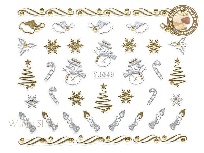 Silver Gold Christmas Snowman Nail Art Sticker - 1 pc (YJ049)