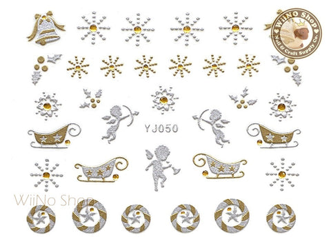 Silver Gold Christmas Angel Snowflake Nail Art Sticker - 1 pc (YJ050)