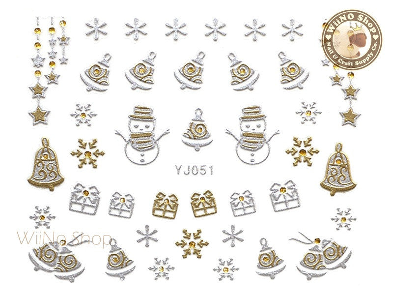 Silver Gold Christmas Jingle Bell Nail Art Sticker - 1 pc (YJ051)