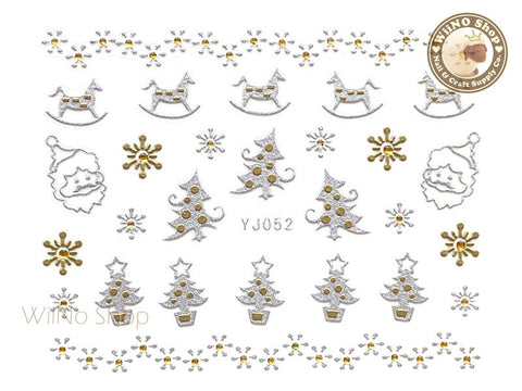 Silver Gold Christmas Tree Nail Art Sticker - 1 pc (YJ052)