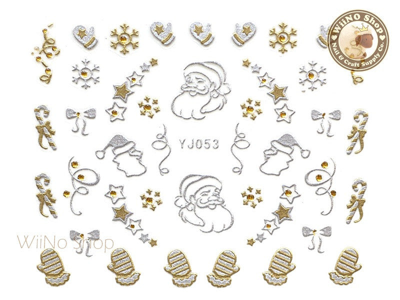 Silver Gold Christmas Santa Nail Art Sticker - 1 pc (YJ053)