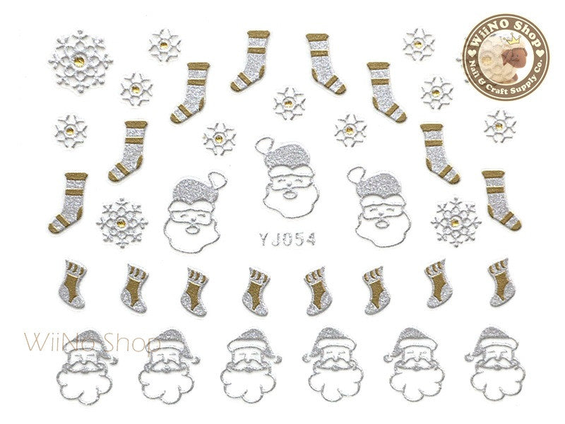 Silver Gold Christmas Stocking and Santa Nail Art Sticker - 1 pc (YJ054)