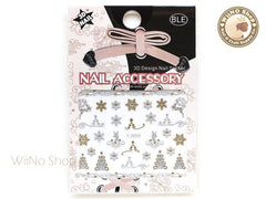 Silver Gold Christmas Tree Snowflake Reindeer Nail Art Sticker - 1 pc (YJ055)