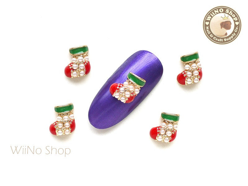 Christmas Stocking Metal Nail Art Charm - 2 pcs