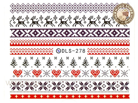 Winter Sweater Knit Style Pattern Water Slide Nail Art Decals - 1pc (DLS-278)
